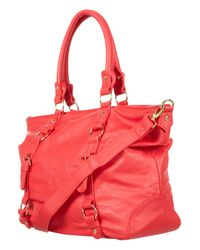 TOPSHOP | Red Slouchy Buckle Shopper Bag | Lyst