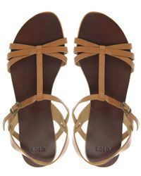 ASOS - Brown Flossy Flat Sandals with T-bar - Lyst