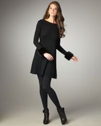 Autumn Cashmere | Black Faux-fur-cuff Cashmere Dress | Lyst
