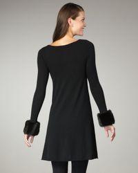 Autumn Cashmere - Black Faux-fur-cuff Cashmere Dress - Lyst