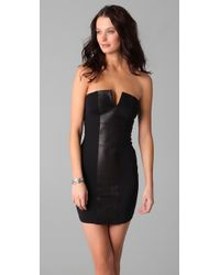 David Lerner | Strapless Dress with Leather Panel in Black/black | Lyst