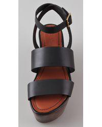 Elizabeth and James | Black Leather & Wood Platform Sandals | Lyst