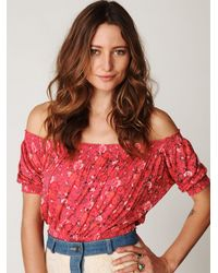 Free People - Pink Printed Gypsy Off The Shoulder Top - Lyst