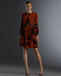 Gucci | Black Long Sleeve Crew Neck Dress with Decoratif Print | Lyst