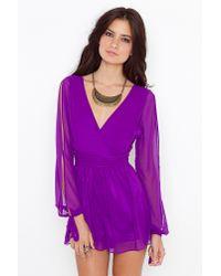 Nasty Gal - Purple Violet Wrap Romper - Lyst