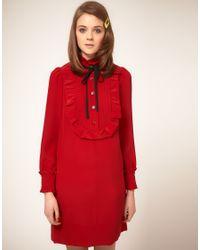 Sonia by Sonia Rykiel | Red Silk Pie Crust Collar Dress | Lyst