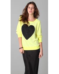 Wildfox - Yellow Black Sparkle Heart Baggy Beach Sweatshirt - Lyst