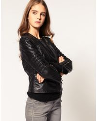 ASOS Collection - Black Asos Collarless Quilted Leather Biker with Ribbed Sleeve - Lyst