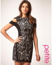 ASOS Collection - Black Asos Petite Lace and Mesh Dress - Lyst