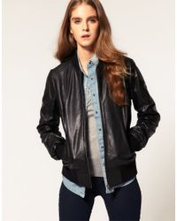 ASOS Collection | Black Asos Soft Leather Bomber Jacket | Lyst