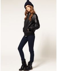 ASOS Collection - Black Asos Soft Leather Bomber Jacket - Lyst