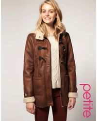 ASOS Collection | Brown Asos Petite Faux Shearling Duffle Coat | Lyst