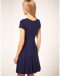 ASOS Collection - Blue Asos Cap Sleeve Skater Dress - Lyst