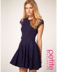 ASOS Collection - Blue Asos Petite Exclusive Skater Dress with Lace Skirt and Short Sleeves - Lyst