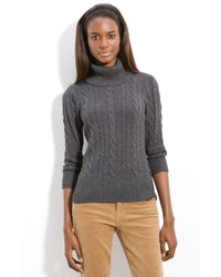Caslon | Gray Cable Knit Turtleneck Sweater | Lyst