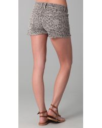Current/Elliott | Gray Boyfriend Leopard Print Shorts | Lyst