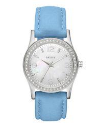 DKNY | Blue Medium Leather Strap Round Watch | Lyst