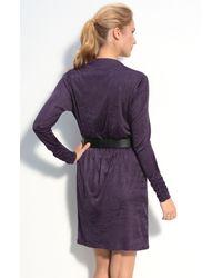 Donna Ricco | Purple Iridescent Jersey Cowl Neck Dress | Lyst