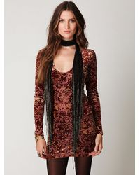 Free People | Black Beaded Fringe Skinny Scarf | Lyst