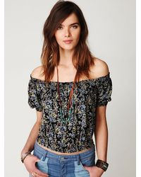 Free People - Black Printed Gypsy Off The Shoulder Top - Lyst