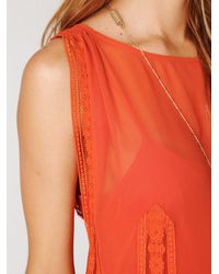 Free People | Orange Short Sleeved 20s Flapper Dress | Lyst