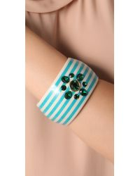 Juicy Couture | Blue Large Striped Bangle | Lyst