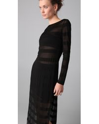 Kevork Kiledjian | Black Striped Open Side Dress | Lyst