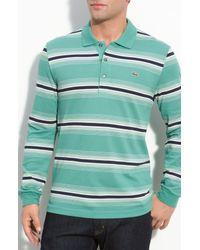 Lacoste | Green Stripe Long Sleeve Polo for Men | Lyst
