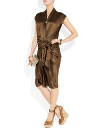 Lanvin | Brown Gathered Silk-satin Wrap-effect Dress | Lyst