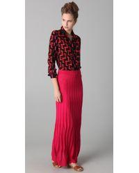 M Missoni - Pink Solid Wave Maxi Skirt - Lyst