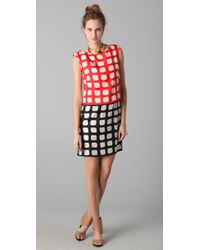 MILLY | Black Square Print Cassie Dress | Lyst