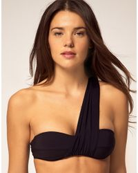Mouille' | Black Bikini Top with One Shoulder Wrap Detail | Lyst