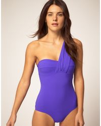 Mouille' - Purple One Shoulder Wrap One Piece Swimsuit - Lyst