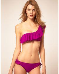 Mouille' - Purple Frill One Shoulder Bikini Top - Lyst