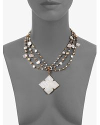 Stephen Dweck - Metallic Three Strand Pearl & Mother-Of-Pearl Pendant Necklace - Lyst