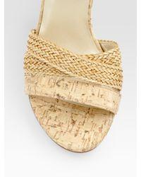 Stuart Weitzman | Natural Backlash Woven Cork Wedge Sandals | Lyst