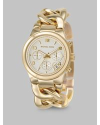 Lyst michael kors gold ip stainless steel twist chain for Michaels craft store watches