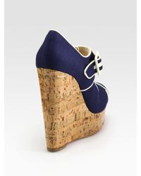 Christian Louboutin | Blue Melides Linen & Cork Wedge Sandals | Lyst