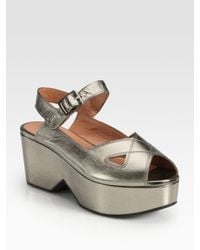 Robert Clergerie | Metallic Leather Wedge Sandal | Lyst