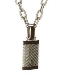 Emporio Armani - Metallic Lock Pendant Necklace for Men - Lyst