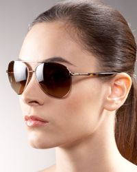 Prada - Metallic Aviator Sunglasses - Lyst