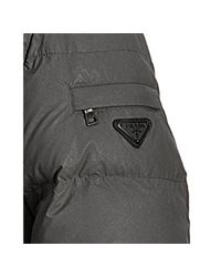 Prada - Gray Sport Steel Quilted Coated Nylon Faux Shearling Collar Down Coat for Men - Lyst