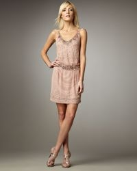 Sue Wong | Pink Beaded Drop-waist Dress | Lyst
