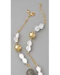 Tory Burch | Metallic 3D Clover Rosary Necklace | Lyst