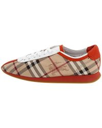 Burberry - Brown Haymarket Check Trainers - Lyst