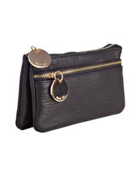 Deux Lux | Black Textured Faux Leather Snake Charmer Dual Pouch Clutch | Lyst