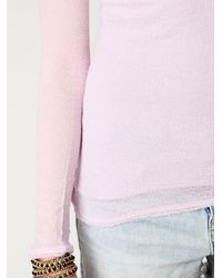 Free People | Pink Gauzy Knit Long Sleeve Top | Lyst