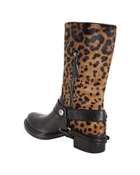 Miu Miu - Black Leopard Print Calf Hair Motorcycle Boots - Lyst