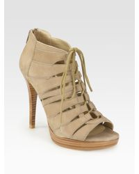 Stuart Weitzman | Brown Hispeed Leather Cutout Lace-Up Ankle Boots | Lyst