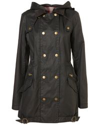TOPSHOP | Black Wax Double Breasted Jacket | Lyst